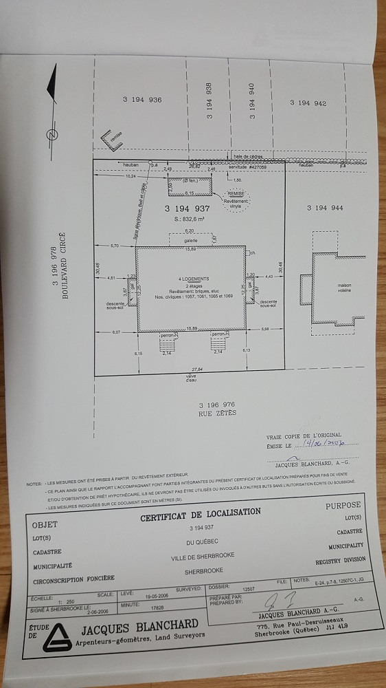 Certificate of location plan