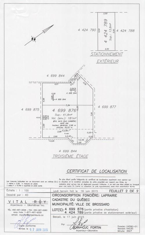 Plan du certificat de localisation