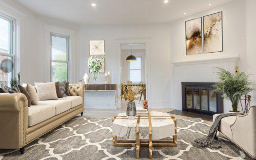 Triplex luxueux à vendre Vieux-Nord Sherbrooke Flex Immobilier Salon avec foyer au bois et plafond de 9' (log. 220 au rez-de-chaussée)