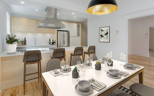 Triplex luxueux à vendre Vieux-Nord Sherbrooke Flex Immobilier Salle à manger et cuisine avec électroménagers neufs inclus (log. 220 au rez-de-chaussée)