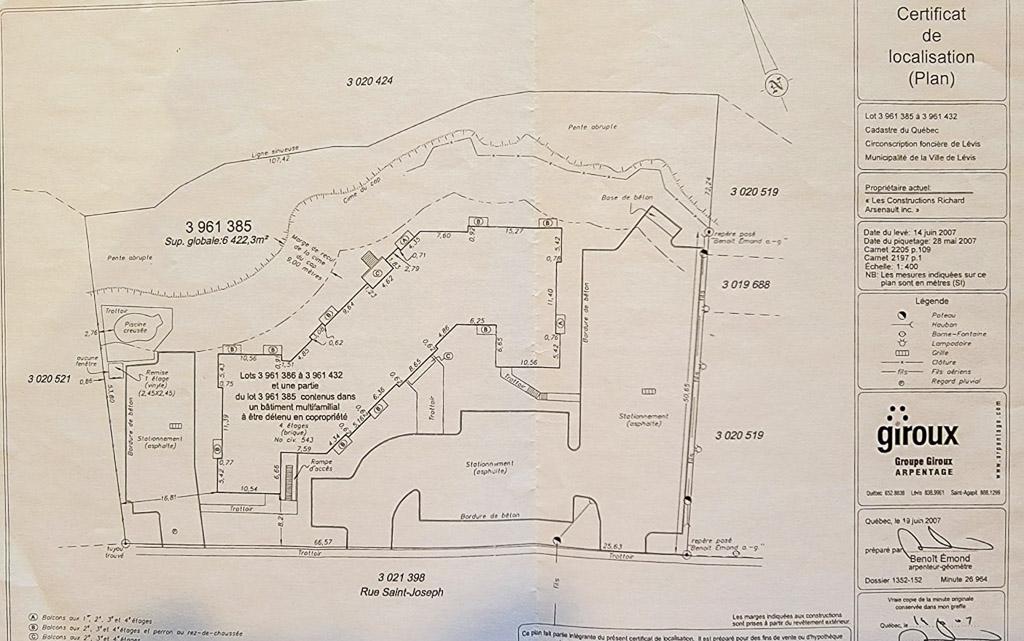 Plan du certificat de localisation (immeuble)
